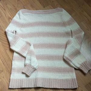Ann Taylor Blush Cream Striped Boat Neck Sweater
